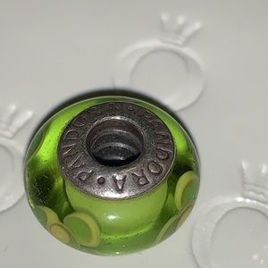 Authentic Pandora glass bead/charm lime green